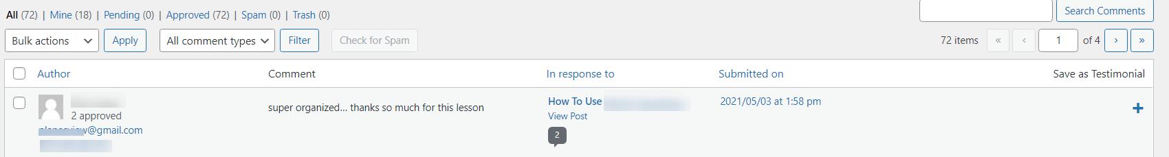 Wordpress Comments